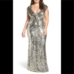 Mac duggal Plunging v neck beaded gown